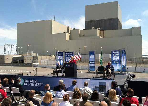 (Richard Dickin) Washington Gov. Chris Gregoire speaks Thursday during her first visit to the Columbia Generating Station, Energy Northwest Nuclear Power Plant near Richland. She was at a celebration of the renewal of the plant's operating license until 2043.