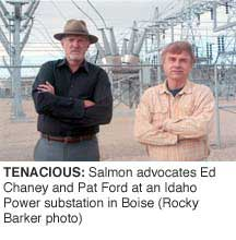 Tenacious: Salmon advocates and Pat Ford at an Idaho Power substation in Boise. (Rocky Barker photo)