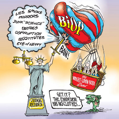 Cartoon: Justice deflates the BiOp balloon holding the Wright Lohn Bodi show
