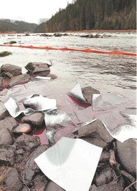 (Barry Kough - Lewiston Tribune)Absorbent pads and plastic booms contain diesel fuel spilled into the Clearwater River.