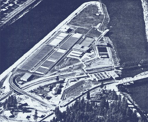 Early aerial photo of Dworshak Hatchery in Idaho is the world's largest for steelhead production designed to mitigate for the loss of the Clearwater River's world-record natural production.