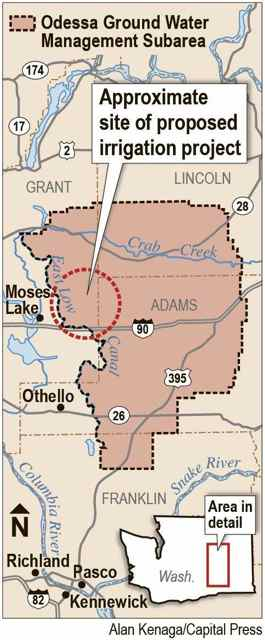 (Alan Kenaga map) A proposal to build an irrigation system for 14,500 acres in the Odessa Subarea is taking its case to the Legislature but facing stiff opposition.