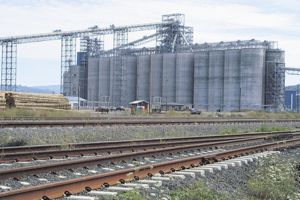Tracks leading to the EGT grain terminal were the site of protests Sept. 21. A 110-car train loaded with grain eventually arrived at the terminal, which is in the testing phase and plans to open soon.