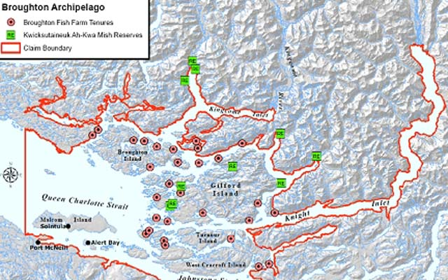 Map showing location of salmon farms on Broughton Archipelago off northeastern Vancouver Island.