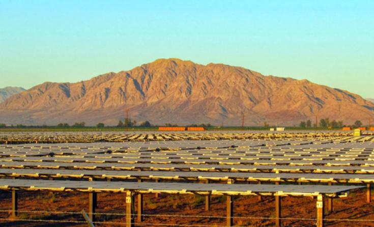 A snapshot of a Google solar energy project in Southern California. The tech giant invested just over $100 million in the project seen here -- or one-third of the sum the company is spending on a new SolarCity fund geared toward residential solar.