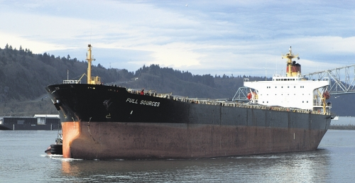 The ship Full Sources out of Hong Kong arrives at the EGT grain terminal Tuesday, Feb. 7, at the Port of Longview, Wash. The ship will carry 57,000 metric tons of Washington-grown wheat to South Korea.