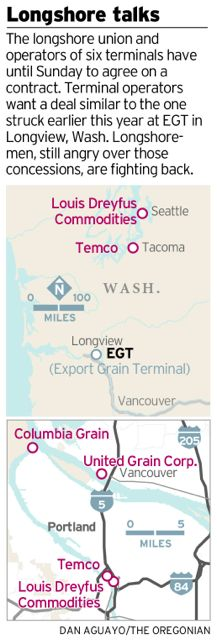 Map of Columbia River's primary grain shipping terminals.