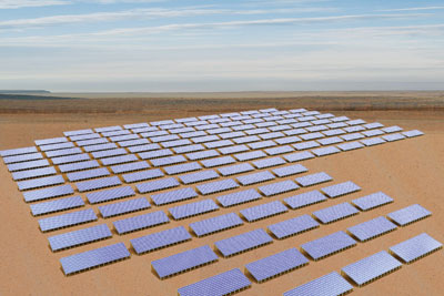 A solar farm harvests photoelectricity in a desert climate.