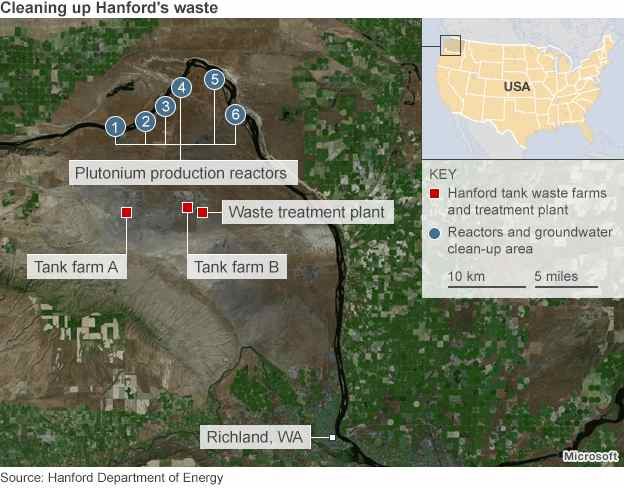Map: Hanford, America's most contaminated nuclear waste site with dangerous pollutants near the banks of the Columbia River.