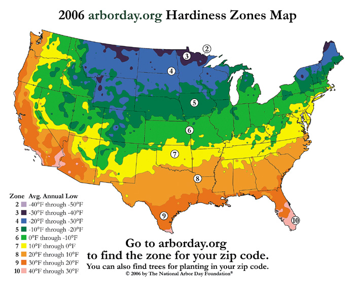 Hardiness Zone Map by arborday.org