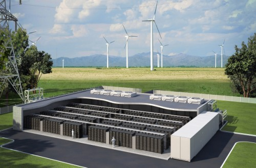 Lithium ion batteries provide storage of electricity at Maui's wind project in Hawaii