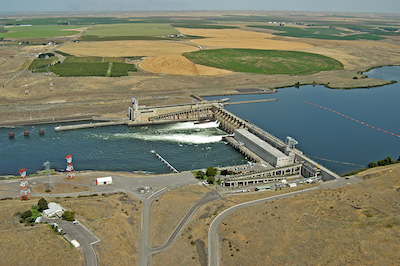 Ice Harbor, one of the four massive dams on the lower Snake River.(Bonneville Power Administration photo)