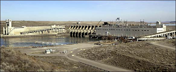Ice Harbor, the fourth of four dams on the Lower Snake River (ACOE photo)
