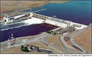 Ice Harbor Lock and Dam, 10 miles up the Snake River from its confluence with the Columbia River, is under consideration for breaching. (ACOE photo)