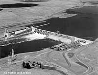 Ice Harbor Lock and Dam, located on the lower Snake River near Burbank, Wash., is one of four dams that some groups seek to have removed in an effort to improve salmon runs on the river. - U.S. Army Corps of Engineers.