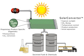 Joule Biotechnologies schematic of Solar Converter which converts sunlight into liquid fuel.