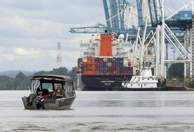 Fishing near container shipping (Mike Siegel photo)