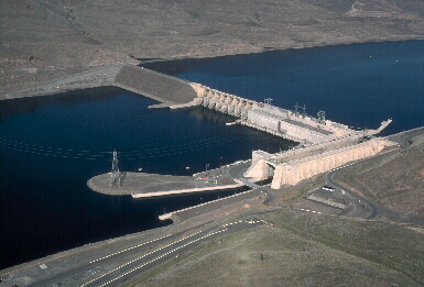 Little Goose Lock and Dam, 70 miles up the Snake River from its confluence with the Columbia River, is under consideration for breaching. (ACOE photo)
