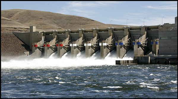 (Blaine Harden) Little Goose and other federal dams have been ordered to spill water to keep migrating salmon in the Snake River, avoiding potentially deadly turbines.