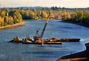 Clamshell dredging on a side channel of the Lower Columbia River