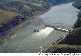 Lower Granite dam, the first dam encountered by Idaho's salmon and steelhead on their downstream migration as juveniles.