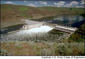 Lower Granite dam, the first of four dams on the Lower Snake River (ACOE photo)