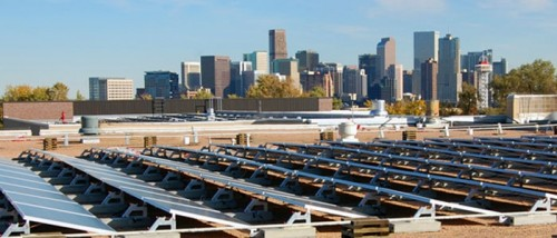 Rooftop solar panels over Denver, Colorado (photo courtesy of Main St. Power)