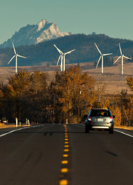 (Matthew Ryan Williams) Wind turbines harness energy near Ellensburg, Wash.