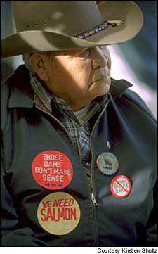 Frank Papse, a Shoshone-Bannonck tribal elder from Fort Hall, Idaho, was one of more than 500 citizens who attended a public meeting in Twin Falls, Idaho, to discus dam removal on the Snake River. Courtesy Kirsten Shultz