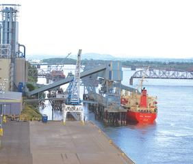 Loading a grain barge at the Port of Vancouver, Washington