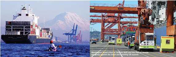Kayaker paddles near container ship with Mount Rainier in the distance