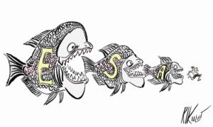 (Rick Dalvit cartoon) Big fish eats medium fish, medium fish eats small fish, small fish eats running man.