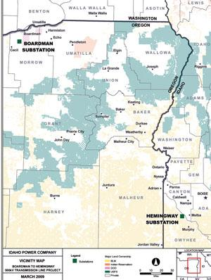 This Idaho Power map shows the location of the Boardman and Hemingway line up.