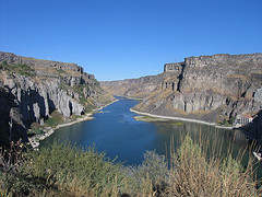 Scenic Lower Snake River canyon with an impounded reservoir.