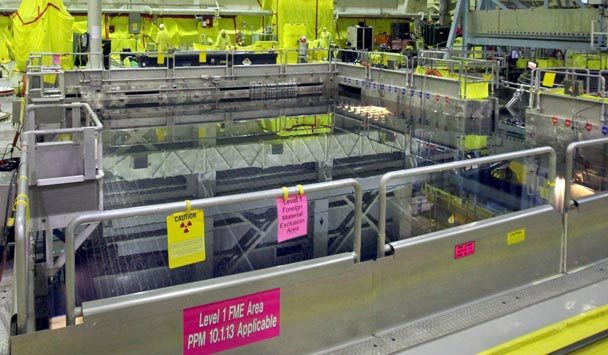 (Steve Ringman) The spent-fuel pool that holds used fuel rods is similar to those damaged at Japan's Fukushima nuclear complex. Nuclear experts say it's the most vulnerable part of the plant.