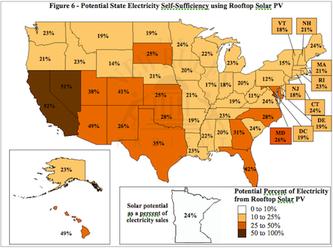 USA Map: Solar potential as a percentage of electricity sales