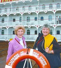 Hill, right, and her travel buddy, Hazel, prepare to embark on their cruise. (Photo contributed by Majestic America Line)