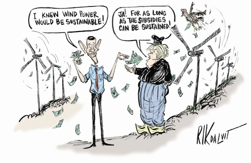 Cartoon: I knew wind power would be profitable.  Ja! For as long as the subsidies can be sustained.