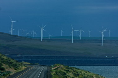 (Jamie Francis) A wind farm in the Columbia Gorge near Arlington.