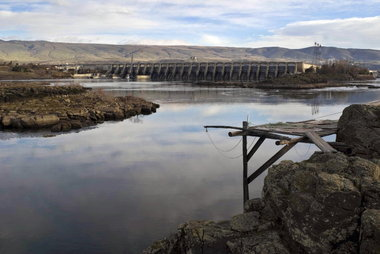 A fishing platform just below The Dalles Dam on the Columbia River. Click Image for full size image.