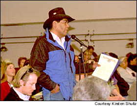Keith Tinno, a member of the Shoshone-Bannock tribe in Fort Hall, Idaho, was among the Native American contingent to speak in support of salmon. Courtesy Kirsten Shultz