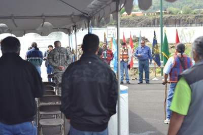 (Conor Ross photo) Tribal fishers join federal agencies in Dallesport, Wash. to dedicate final in-lieu of fishing site.