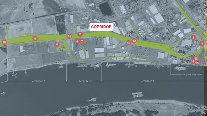 Map: Vancouver rail project serves a grain terminal and reduces rail congestion in the area.